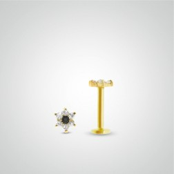 Yellow gold flower labret piercing (internally threaded)