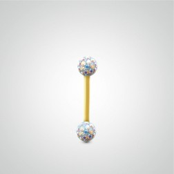 Yellow gold eyebrow piercing with Swarovski crystal balls
