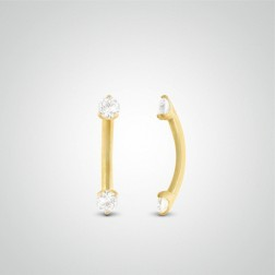 Yellow gold diamond 0,03 carats eyebrow piercing