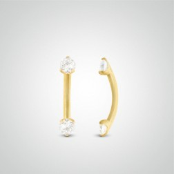 Yellow gold two zircons eyebrow piercing