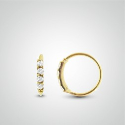 Yellow gold easy to open helix ring with 4 zirconium oxides