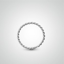 White gold easy to open twisted helix ring