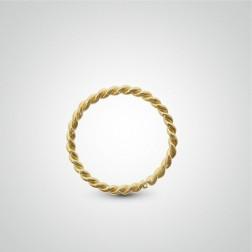 Yellow gold easy to open twisted helix ring
