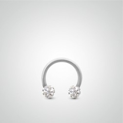 White gold intimate piercing 1,2mm(16ga) with Swarovski crystal balls