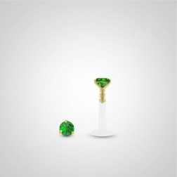 Yellow gold emerald (0,05cts) labret piercing