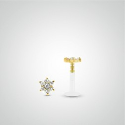 Yellow gold white flower labret piercing