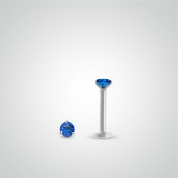 White gold sapphire (0,05cts) labret piercing (internally threaded)