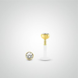 Yellow gold white Swarovski crystal labret piercing