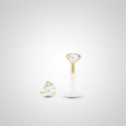 Yellow gold diamond 0,05 carats labret piercing