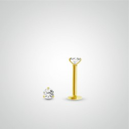 Yellow gold white zircon labret piercing (internally threaded)