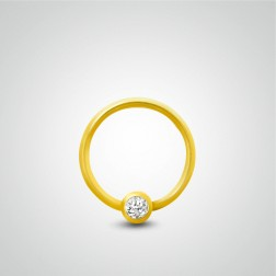 Yellow gold ring with zircon fixed ball for nose