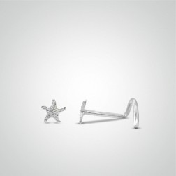 White gold starfish nose stud