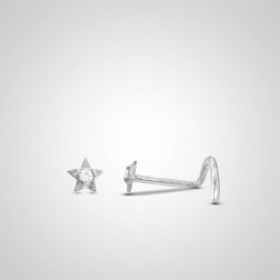 White gold star nose stud