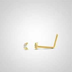 Yellow gold moon nose stud piercing