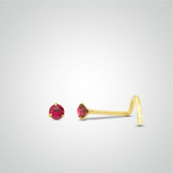 Yellow gold nose stud piercing with Ruby
