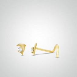 Yellow gold dolphin nose stud