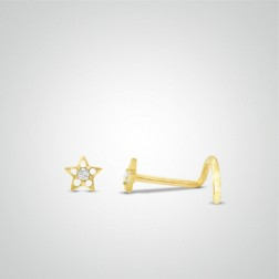 Yellow gold star nose stud