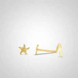 Yellow gold starfish nose stud
