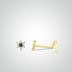 Yellow gold flower nose stud
