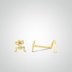 Yellow gold frog nose stud