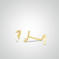Yellow gold sea horse nose stud