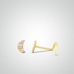 Yellow gold moon nose stud