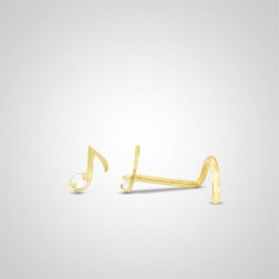 Yellow gold musical note nose stud