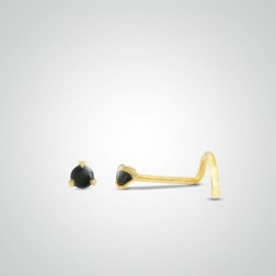 Yellow gold black zircon nose stud