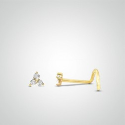 Yellow gold triple zircon nose stud