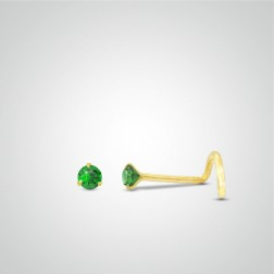 Yellow gold nose stud piercing with Emerald