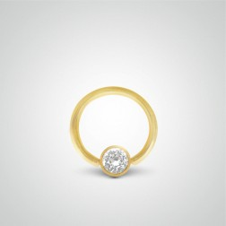 Yellow gold belly button ring with zircon ball piercing 1,6mm(14ga)