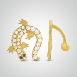 Yellow gold salamander belly button piercing