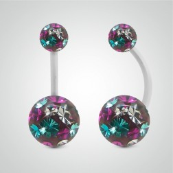 White gold belly button piercing with Swarovski balls (multicolour)