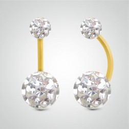 Yellow gold belly button piercing with Swarovski balls (big size)
