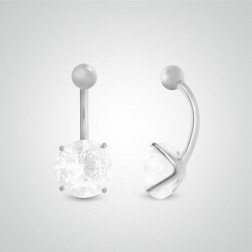 White gold belly button piercing with round jewel 10mm (3/8in)