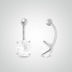 White gold belly button piercing with round jewel 10mm (3/8in) and zircon ball