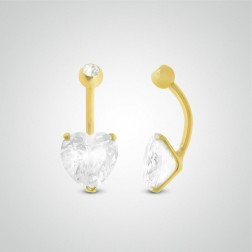 Yellow gold belly button piercing with 10mm heart jewel and zircon ball