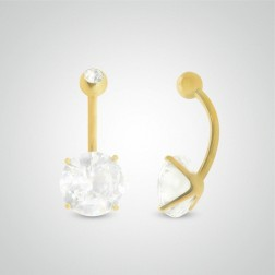 Yellow gold belly button piercing with round jewel 10mm (3/8in) and zircon ball
