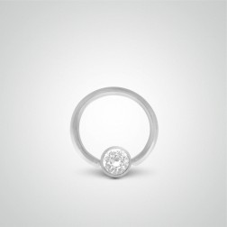 White gold nipple ring with zircon ball piercing 1,6mm(14ga)