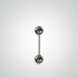 White gold nipple piercing with Swarovski balls (4 colors)