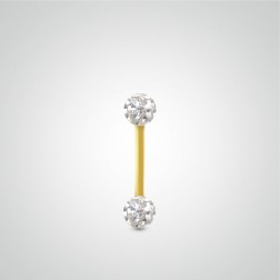 Yellow gold nipple piercing 1,6mm(14ga) with Swarovski balls
