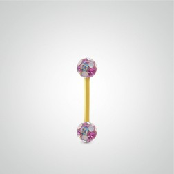Yellow gold nipple piercing with Swarovski balls (4 colors)