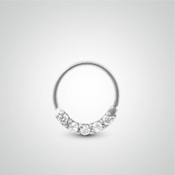 White gold easy to open tragus ring with zirconium oxides