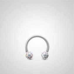 White gold tragus piercing 1,2mm(16ga) with Swarovski crystal balls