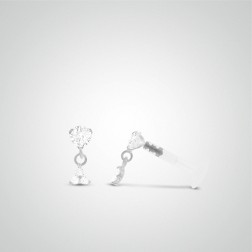 White gold three zircons pendant tragus piercing