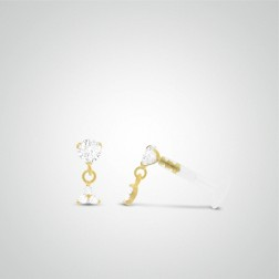 Yellow gold three zircons pendant tragus piercing