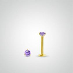 Yellow gold amethysth (0,05cts) tragus piercing (internally threaded)
