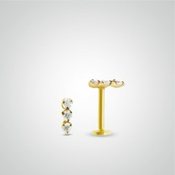 Yellow gold three diamonds tragus piercing (internally threaded)