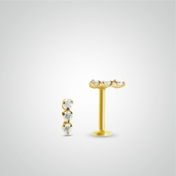 Yellow gold three zircons tragus piercing (internally threaded)