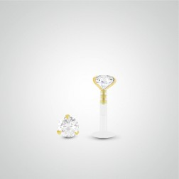 Yellow gold diamond (0,10cts) tragus piercing